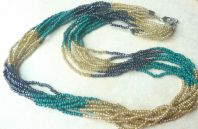 Vintage Style Long  Faux Gemstone Seed Bead Necklace.